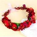 Moda Flor Celada de La Boda Accesorios Nupciales Del Pelo de La Corona de Flores de Bohemia de la Flor De Halo Corona roja Flor Artificial Corona