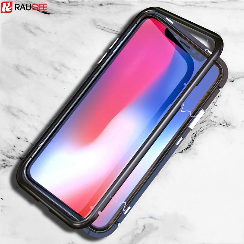 Pour iPhone X Cas Magnétique Adsorption Téléphone Cas De Luxe Magnétique Trempé verre Retour Couverture De Silicone Téléphone Pour iPhone X 7 8 Plus