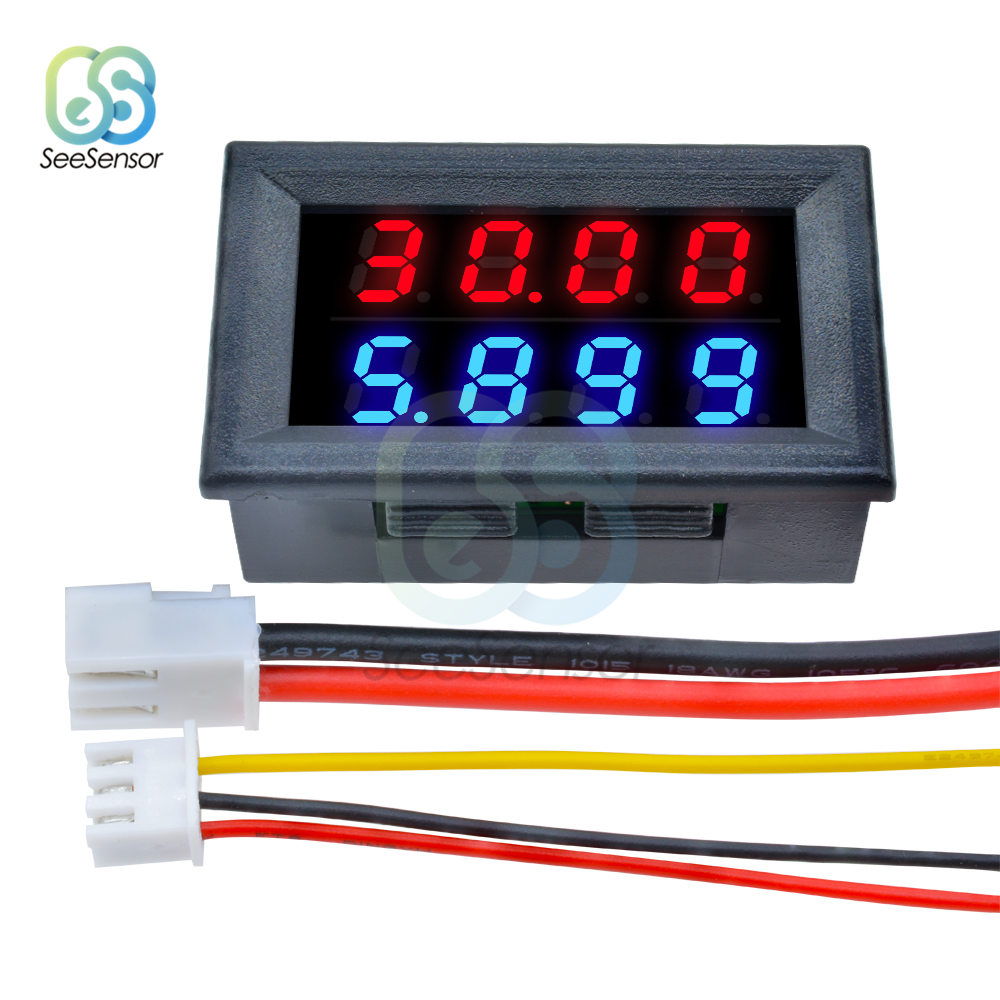 0 28 Inch Digital DC Voltmeter Ammeter 4 Bit 5 Wires DC 0 100V 10A Voltage Current Meter Power Supply Red Blue LED Dual Display in Current Meters from Tools
