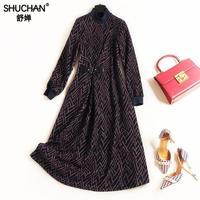 Shuchan Winter Dress Sweater Knitted Long Sleeve Stand Neck Geometric A line Women Designers Dresses High Fashion Women Clothes