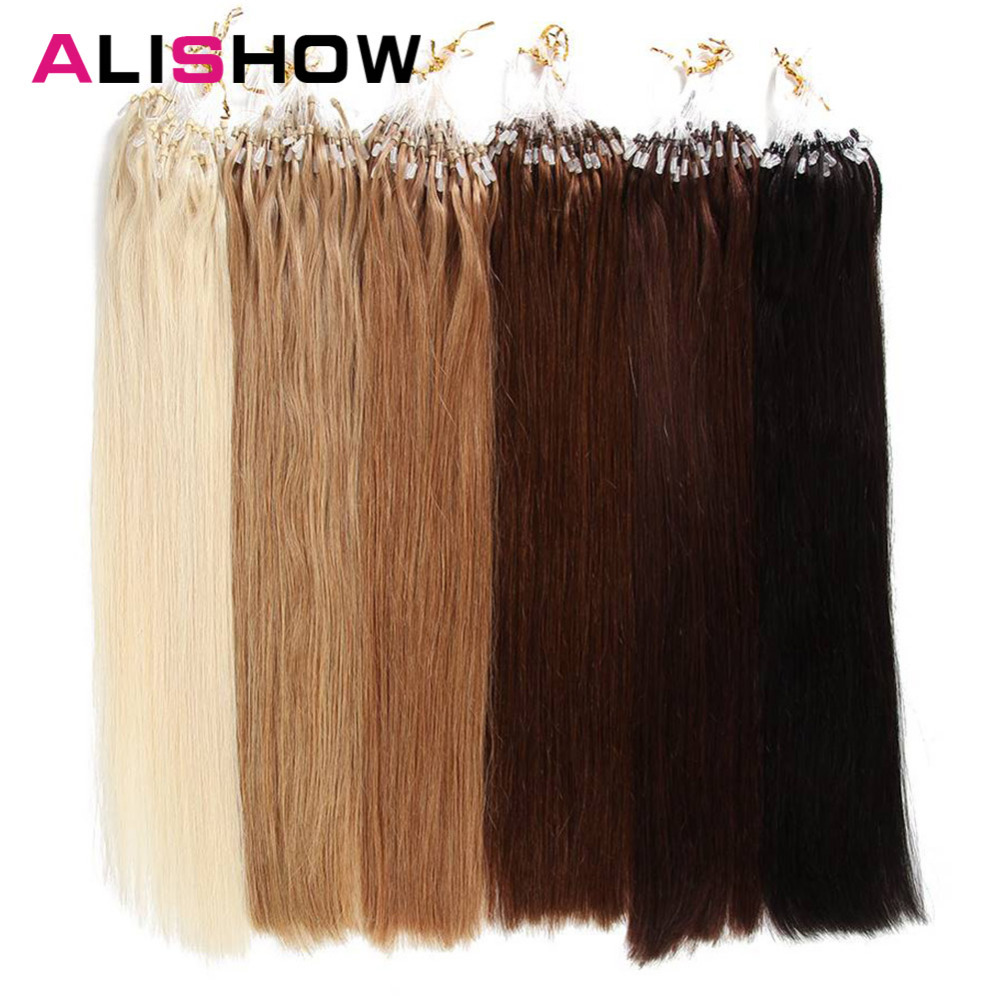 Alishow Micro Loop Ring Hair Extension Blonde Remy Hair Colored Hair Locks 18-24''Micro Bead Hair Extensions 1g/strand 50g