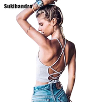 Sukibandra Summer Fashion Beach Casual Lace Up Sleeveless Crop Top Women Sexy Backless Spandex Cotton Camisole