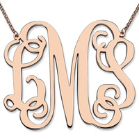 Large Size Monogram Necklace XXL 2 Inch Pendant Monogram Rose Gold Color Personalized Initial Mother Jewelry