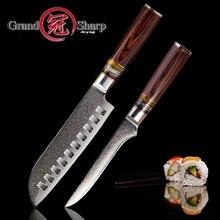2 предмета наборы кухонных ножей Дамаск Сталь японский vg10 Профессиональные Кухонные ножи Santoku косточки Мясник шеф-повар Пособия по кулинарии Инструменты