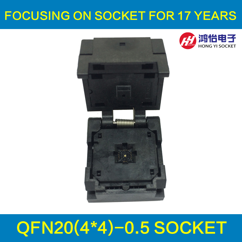 QFN20 MLF20 WLCSP20 Burn in Socket Adapter Pitch 0.5mm IC Body Size 4x4mm IC550-0204-009-G Clamshell Test Socket