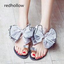 купить 2019 Summer Slippers Woman Shoes Beach Flip Flops Slippers For Women Bowknot Girls Ladies Flat Shoes Plus Size 35-42 по цене 1096.2 рублей