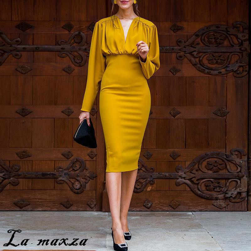 Yellow Elegant Bodycon Office Ladies Dress Long Sleeves Draped V Neck Sexy Women Dress