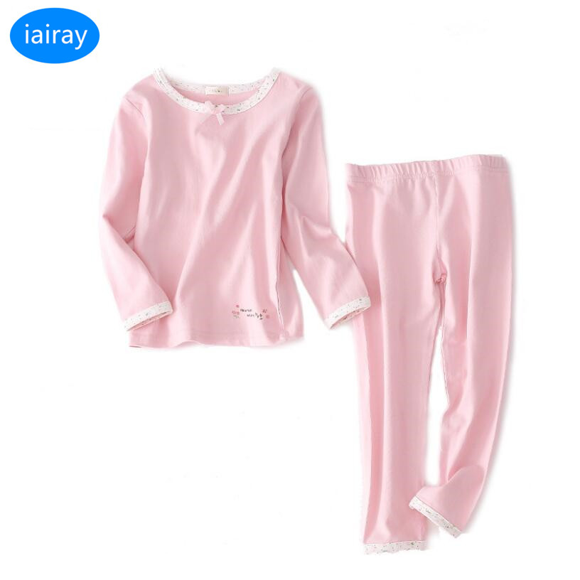 iairay 2pcs cotton pajama bottoms casual pants girls pajamas sleepwear kids underwear set pink long johns spring autumn pijama