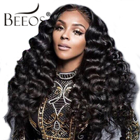 250% Density Full Lace Human Hair Wigs Bleached knots Loose Wave Indian Remy Hair Wigs For Women Natural Black with Baby Hair