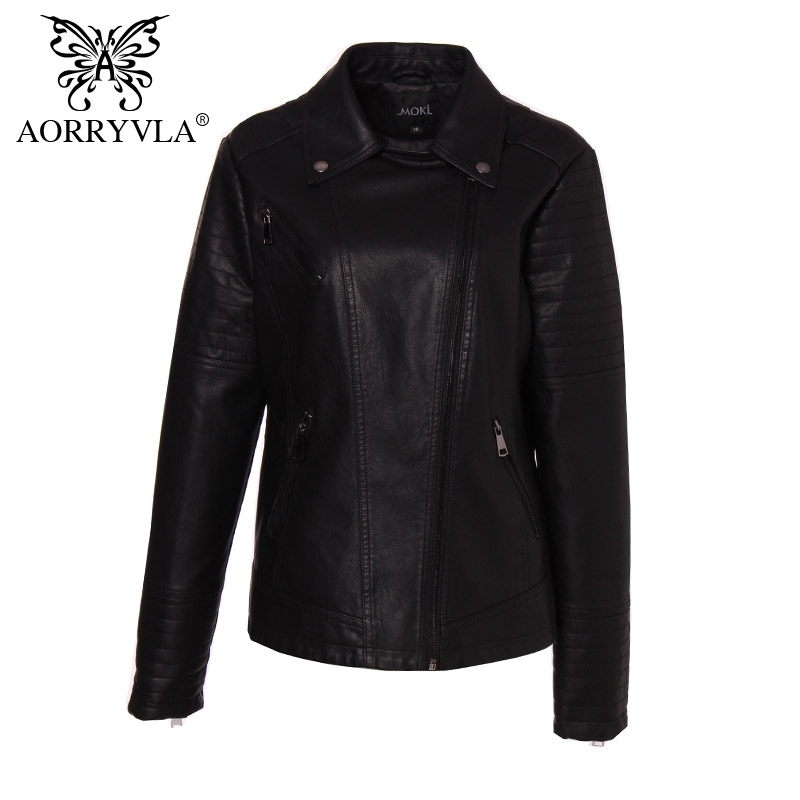 AORRYVLA Brand Women s Leather Jacket Plus Size Full Sleeve Turn Down Collar Zipper Short Jacket