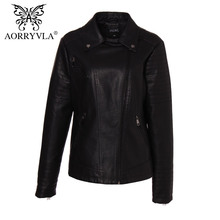 AORRYVLA Brand Women's Leather Jacket Plus Size Full Sleeve Turn-Down Collar Zipper Short Jacket Female PU Leather Jackets A9901