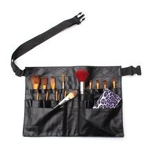 1pcs Black Two Arrays Makeup Brush Holder Professional Apron Bag Artist Belt Strap Protable Make Up Brushes Bags For Cosmetic