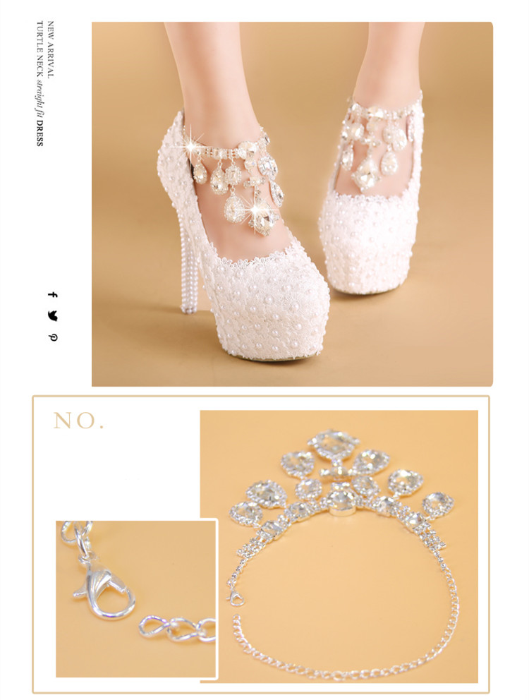 d53e48b0a5e64 BaoYaFang New Arrival White Lace wedding shoes with strap High heels ...