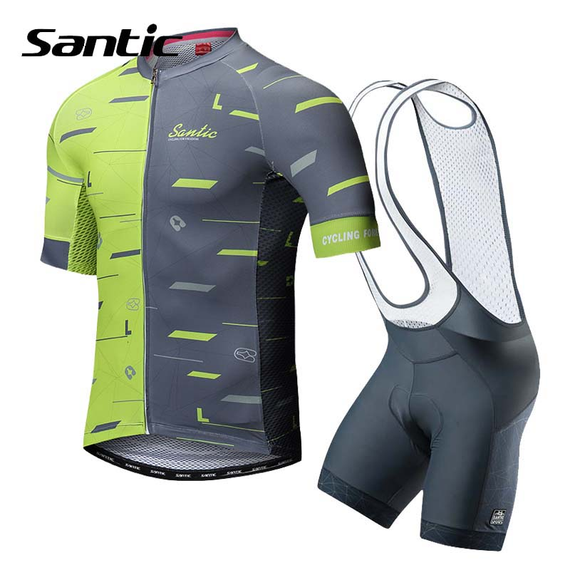 Santic Summer Cycling Jersey Set Short Sleeve Cycling Clothing Men Pro Team 2018 Breathable Bike Jersey Set Green Bicycle Wear free shipping women s cycling jerseys female bike jersey high quality summer bicycle racing clothing short sleeve sports wear