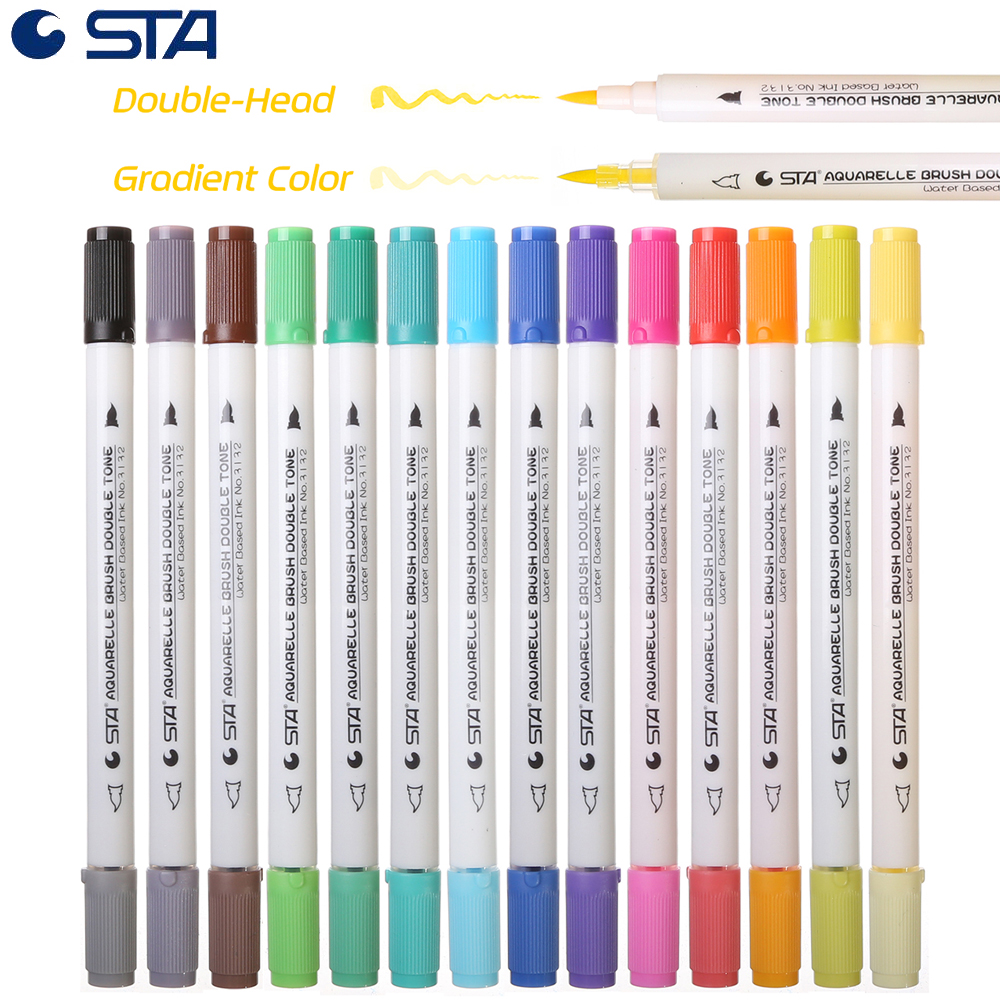 STA 28 Gradient Color Art Brush Markers Artist Dual Headed Watercolor Marker Pen For Drawing Coloring Design Manga Calligraphy