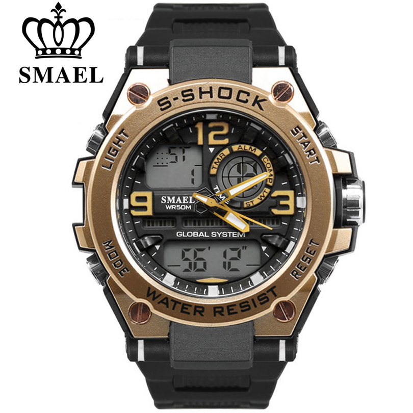 SMAEL Luxury Watch Men Fashion Waterproof Analog Sports Digital Quartz Wristwatch Man Watches Top Brand luxury reloj mujer Clock fashion top gift item wood watches men s analog simple hand made wrist watch male sports quartz watch reloj de madera