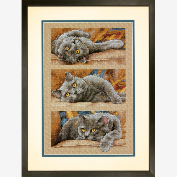Top Quality Hot Sell Lovely Counted Triptych Cross Stitch Kit Max The Cat, Max Le Chat Dim 70-35301