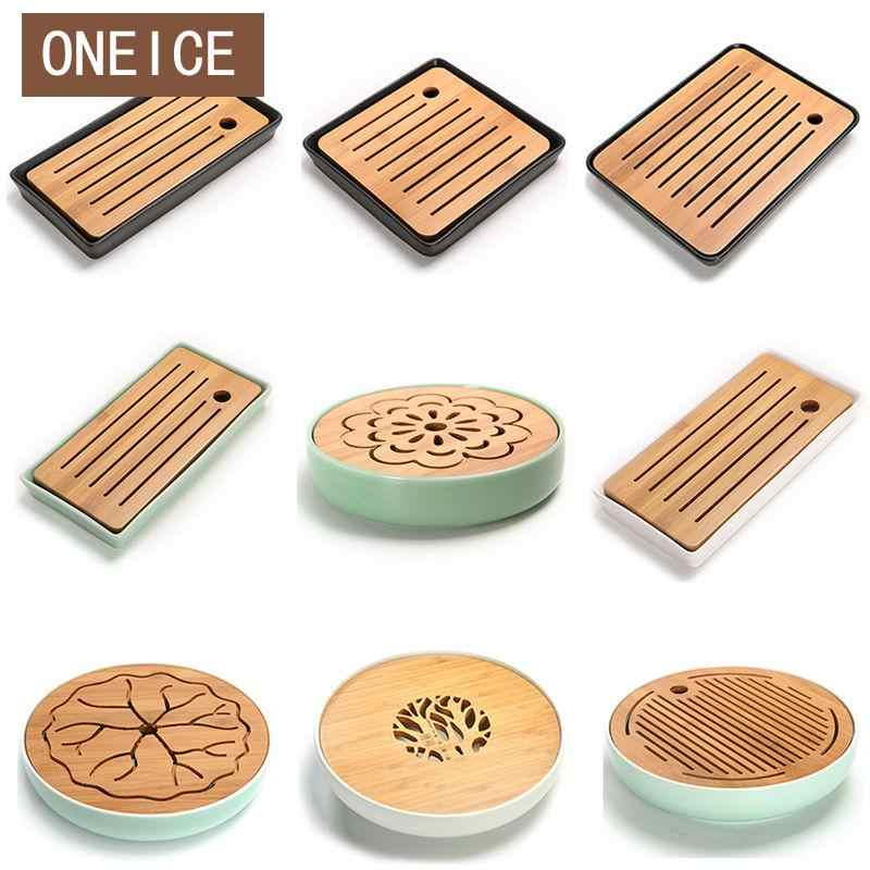 Mini Tea Tray Ceramics Bamboo Drainage Water Storage Kung Fu Tea Set Room Board Table Chinese Tea Cup Ceremony Tools Tea Set