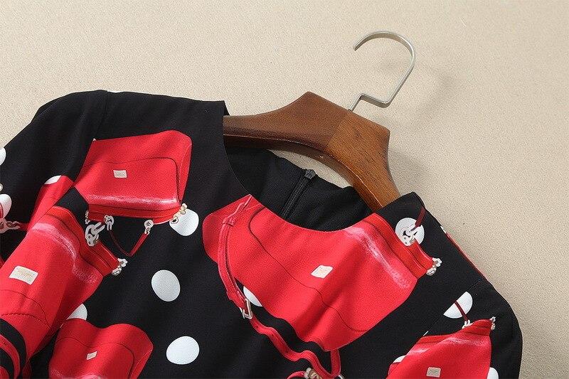 Nouvelle Robe Piste Une Printemps Mode Robes Eté Rouge 2018 Femmes À Longues Manches Élégante Imprimer Ligne Chic S318 xFFPY0qw