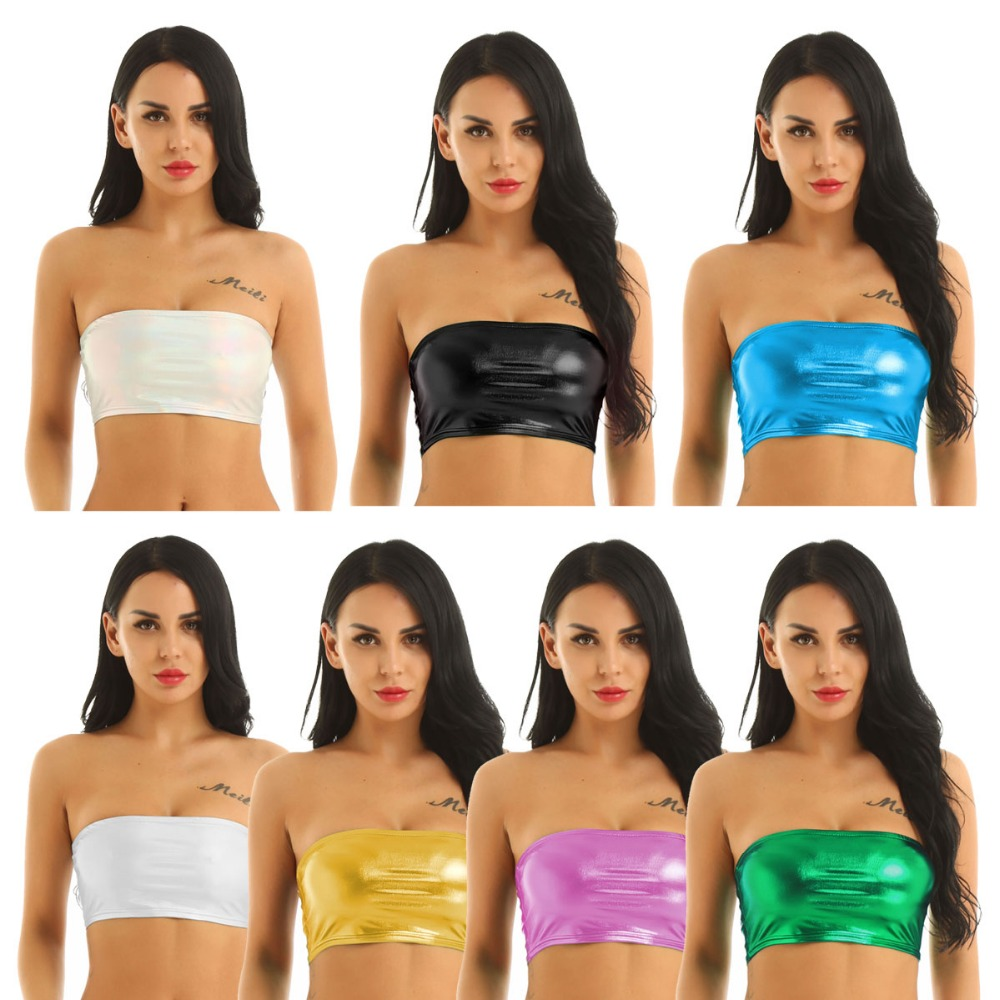 Boob Tube Top METALLIC Wet Look Lycra NEW Bandeau Party Clubwear Shiny