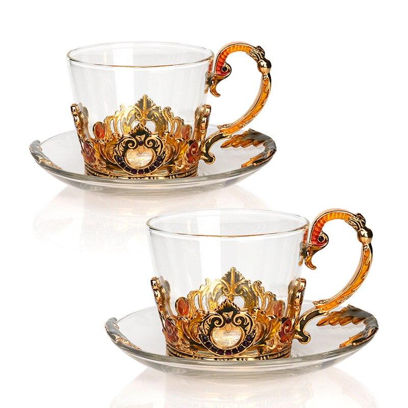 Style européen cristal fleur thé tasses couleur émail Transparent Zone tasse à café avec soucoupe Palace après-midi thé boisson