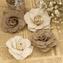 2 pcsEurope and America Handmade linen Flowers Christmas Wedding Party Shoes Flower Hat Flower DIY Decoration(China)