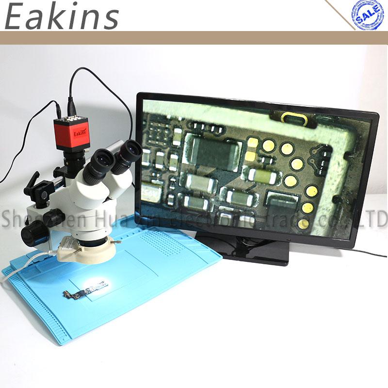 Eakins 7-45X Simul-focal Trinoculaire Stéréo Zoom Microscope 13MP HDMI VGA Microscope Caméra 56 LED Lumière Tapis de Laine Isolante