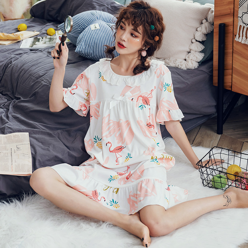 Lace Princess Long Dress Woman Sleepwear Cotton Women's Sleep Lounge Dresses Girls Cute Animal Sleepwear   Nightgowns     Sleepshirts