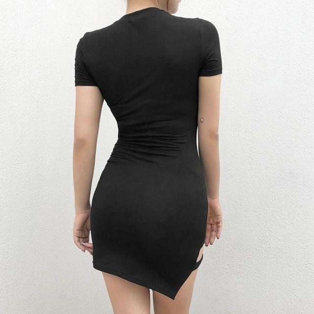 Black Harajuku Dresses Women Summer Short Sleeve Sexy Hollow Out Asymmetrical Metal Ring Slim Mini Dress Gothic Girls 3