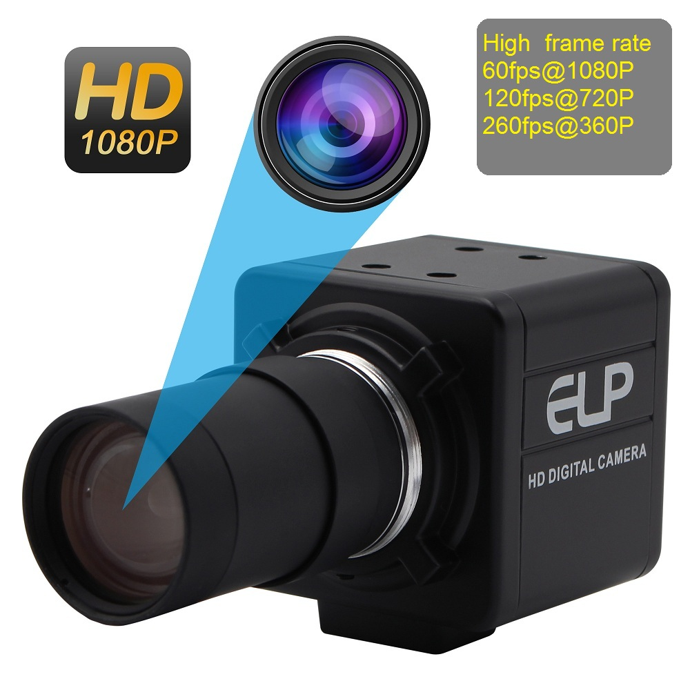 ELP High Speed MJPEG 1080P 60fps/ 720P 120fps/ 360P 260fps UVC OmniVision OV4689 CMOS USB Webcam Camera With Varifocal Lens