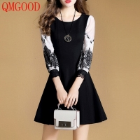 QMGOOD Autumn Retro Dress Slim Fashion Big Swing Lace Dresses Women High Quality Luxury Dress High