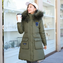 2017 So Thick High Quality Fur Collar Women Winter Long Coats Jacket Warm Woman Parker Female Overcoat Cotton Coat Winter Basic