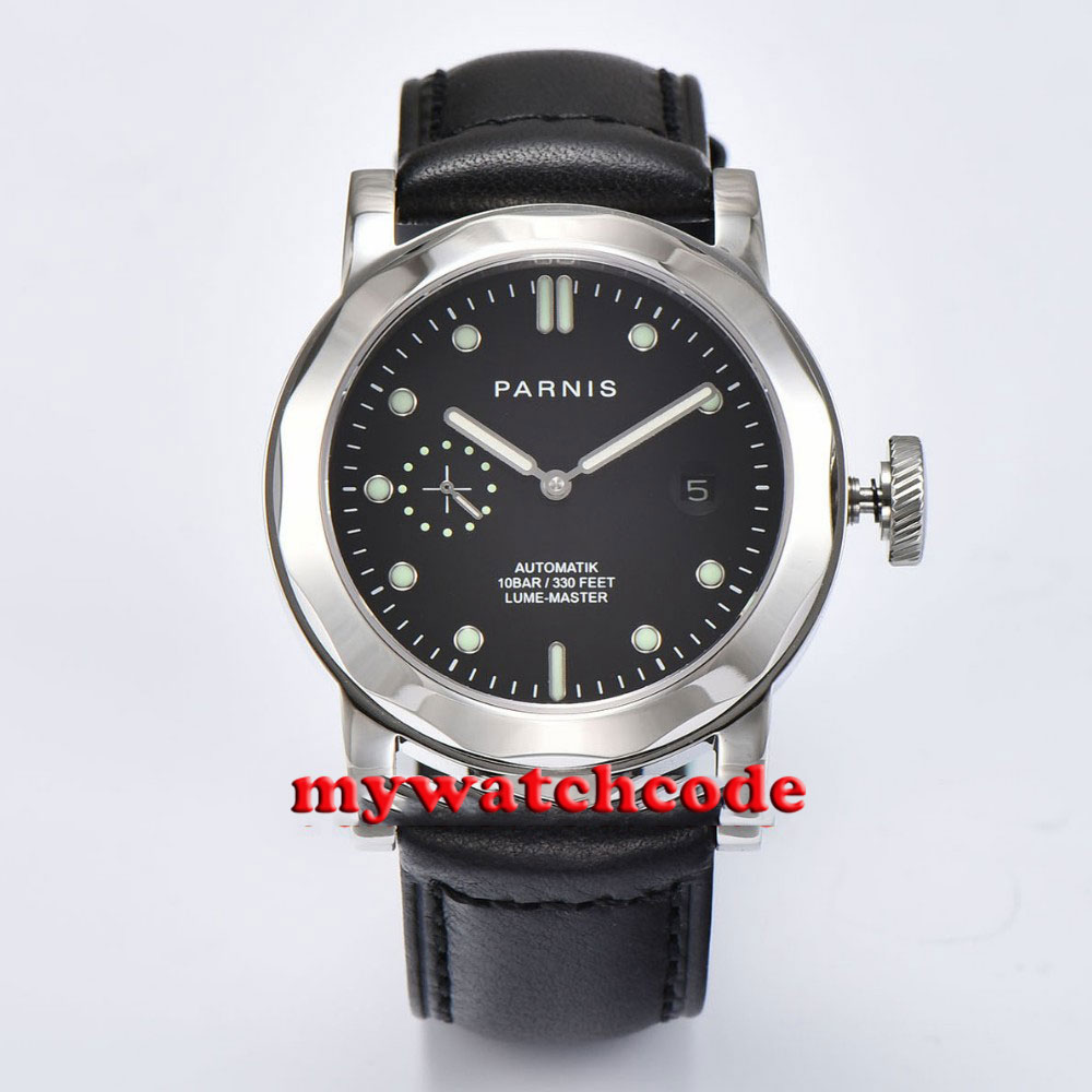 Polished 44mm Parnis black dial leather strap Sapphire glass date window sea-gull Automatic Mens Watch P706 цена и фото
