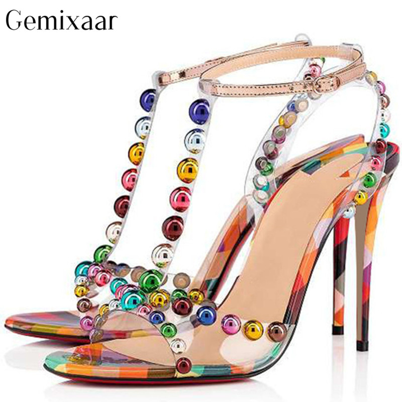 Lovely Colorful Dot Rivet T shape Narrow Band Women Shoes Open Toe High Stiletto Heels Sandalias Mujer Sweet Multy Color Sandals