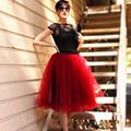 100% real picture Women ChiffonTulle Skirt High waist Midi Knee Length pettiskirt plus size Tutu Skirts BSQ002