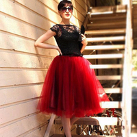7 Warstwy Midi Tulle Spódnica TUTU Spódnice Kobiet Moda Elegant Wedding Bridal Drużki Spódnica Lolita Podkoszulek Kiecka Ślubna
