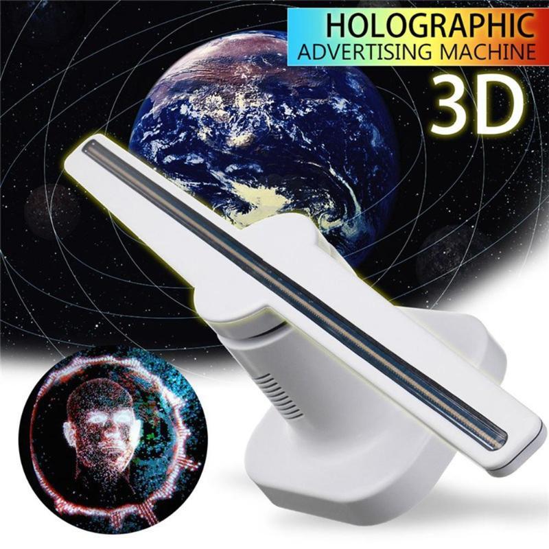 Portátil LED Branco 3D Holograma Holográfico Projetor Propaganda Fã Exibição Única Luz EUA/UE/Plug Lâmpada Publicidade