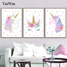 TAAWAA Pink Unicorn Poster Nursery Art Wall Canvas Print Painting Nordic Style Decorative Picture Girl Baby Bedroom Decoration