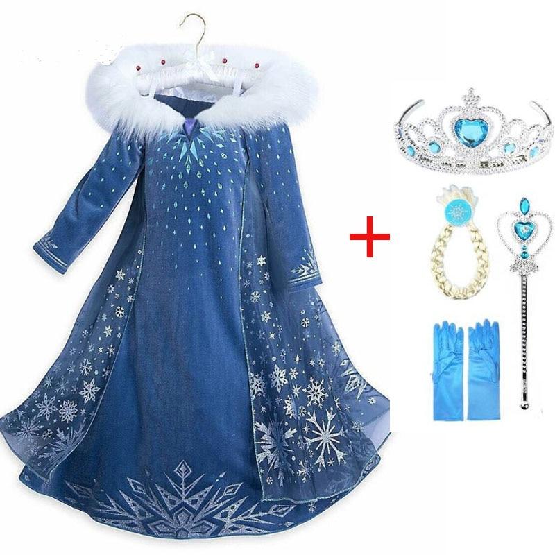 2020 New Elsa Dress Girls Party Vestidos Cosplay Girl Clothing Anna Snow Queen Print Birthday Princess Dress Kids Costume 1