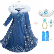 2020 New Elsa Dress Girls Party Vestidos Cosplay Girl Clothing Anna Snow Queen Print Birthday Princess Dress Kids Costume cheap Disney Polyester Cotton Synthetic Leather CN(Origin) Ankle-Length O-neck Regular Full European and American Style Fits true to size take your normal size