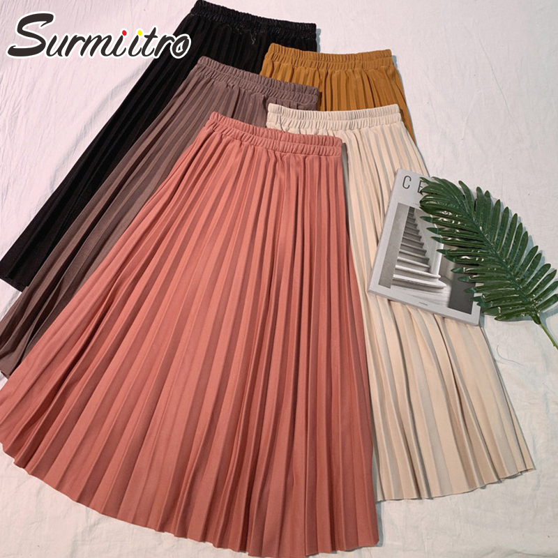 Elegant Solid Midi Pleated Korean High Waist A-line School Long Skirts