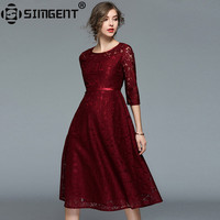 Simgent 2018 New Spring Three Quarter Sleeve Office Lady A Line One Neck Vintage Lace Dress