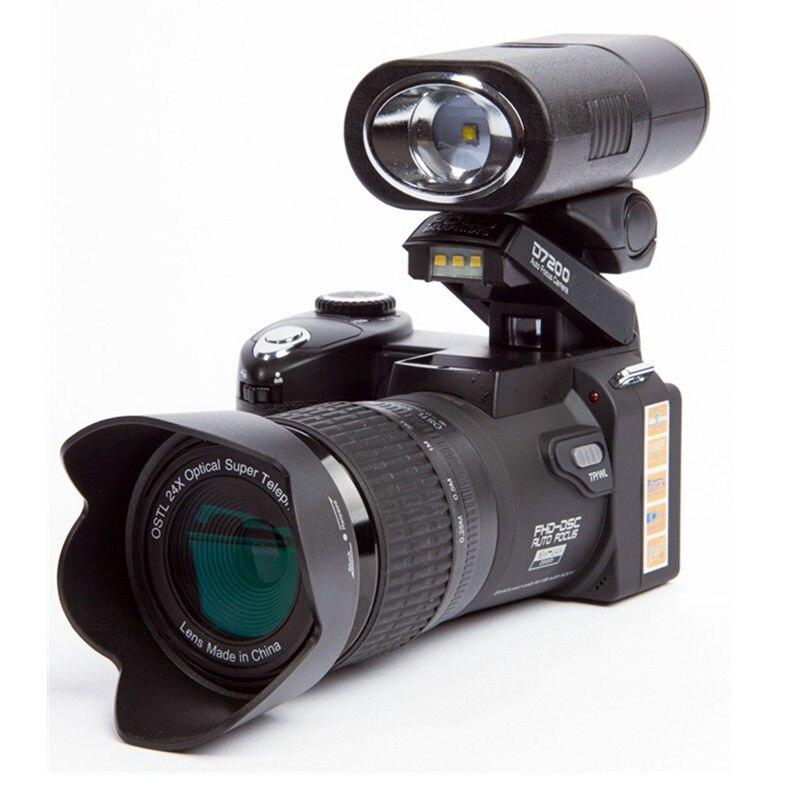 POLO D7200 Digital Camera 33MP Auto Focus Professional SLR HD Video Camera 24X+Telephoto Lens Wide Angle Lens LED Fill Light+Bag