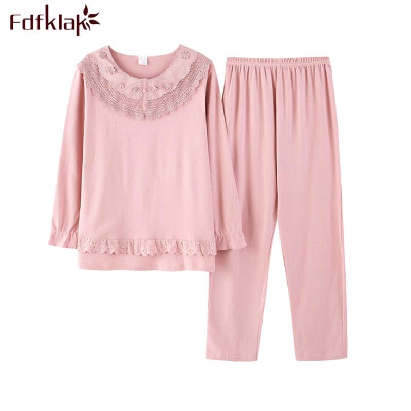 Fdfklak High Quality Plus Size   Pajamas   Women Long Sleeve Cotton Pyjamas Women's Sleepwear Pijama Casual   Pajama     Set   M-3XL