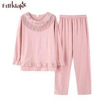 Fdfklak Hoge Kwaliteit Plus Size Pyjama Vrouwen Lange Mouwen Katoenen Pyjama vrouwen Nachtkleding Pijama Casual Pyjama Set M 3XL