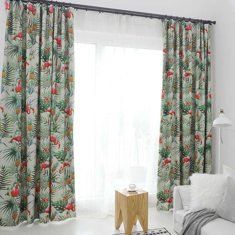 Modern Pastoral European Flamingos Printing Shading Curtains for Living Dining Room Bedroom.