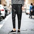 Primavera 2017 Pantalones Colapso Hombres Corredores de Hip Hop de Moda de Imitación de Los Hombres Pantalones de cuero Slim Fit Tiro Caído Los Hombres de Los Pantalones de Cuero de LA PU