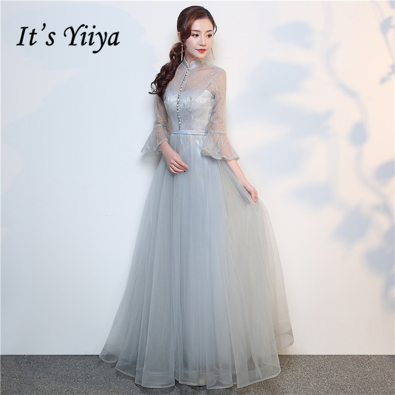 It's Yiiya Gray Three Quarter Sleeve Evening Dresses Illusion Luxury Party Gown Evening Gowns Sexy Backless Prom Dress LX702