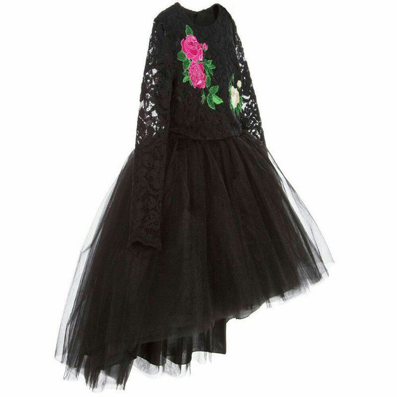 14f0acb818d New Fancy Dress for Girl Brand Princess Girl Wedding Dress Lace Floral  Brand Prom Black Dresses Girl Kids Party Wear 5-12Y