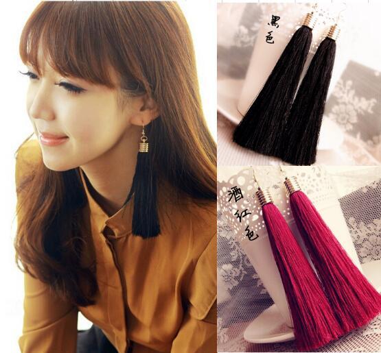 1 Pairs Hochwertige 12 Farben Schwarz Vintage Quaste Ohrringe Lange Ohrringe Mode Ohrringe Geschenk Für Frauen Schmuck
